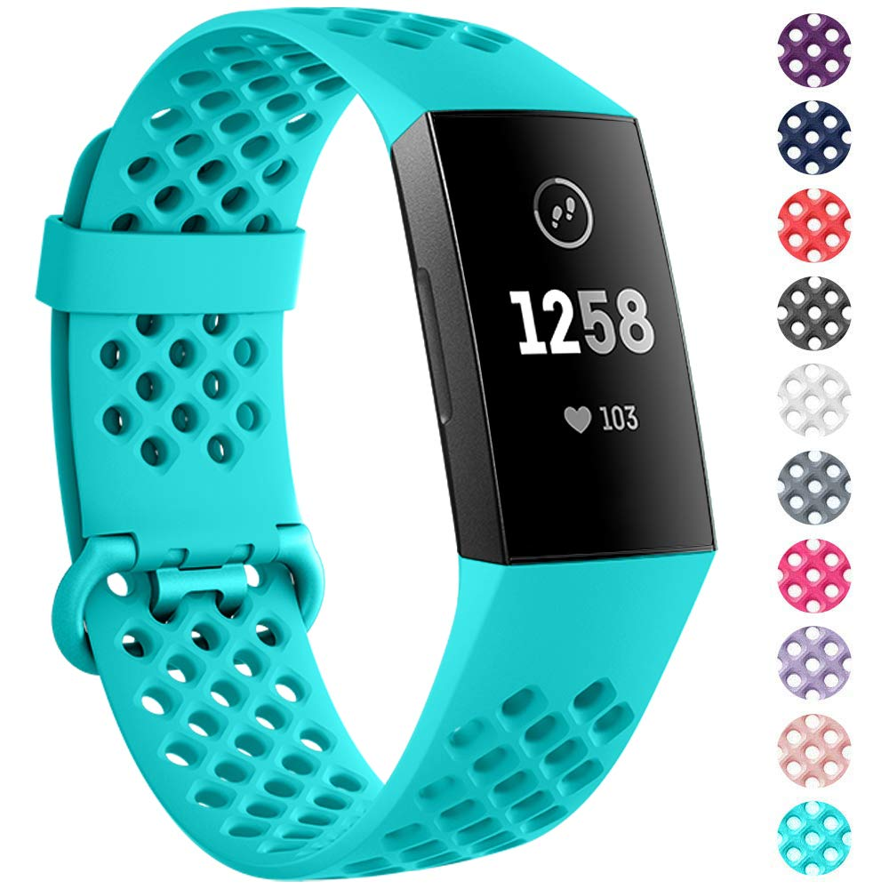 NANW Bands Compatible with Fitbit Charge 4 / Charge 3, Silicone Wristband Air Holes Breathable Sport Band Replacement Wristbands Strap Accessories for Women Men for Charge 3 / Charge 3 SE