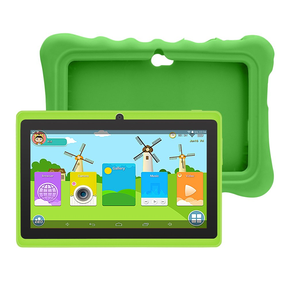 YUNTAB 7 inch Android 8.0 Kids Tablet, 1.5 Ghz Quad Core CPU, 1GB RAM, 16GB ROM, Kids Software Pre-Installed, Premium Parent Control with Protective Case, 1024x600, with WiFi, Dual Camera(Green)