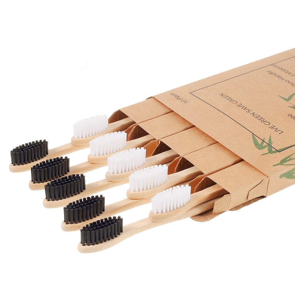 10 Pack- Biodegradable Natural Bamboo Toothbrushes, BPA Free Soft Bristles, Eco-Friendly, Compostable, Organic, Vegan, Green Toothbrushes