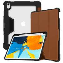 VEGO Case Compatible for iPad Pro 11 inch 2018 Release, Shockproof Rugged Leather with Pencil Holder(Support 2nd Gen Pencil Charging Supported), Auto Sleep Wake Folding Stand Protective Cover, Brown