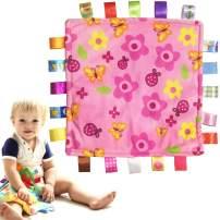 Baby Teething Cloth Teething Blanket Teething Blankie - Comforting Blanket Comforting Towel Soothing Blanket Security Blanket for Baby, Toddlers, Infants - Pink