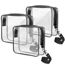Ariza Clear Toiletry Bag Tsa Approved, Travel Accessories Toiletries Bags Carry On 3-1-1 Quart Sized Airport Airline Compliant Makeup Organizers with Zipper 3pcs/pack (Black)