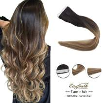 Easyouth Remy Tape for Hair Extensions Natural Real Human Hair Off Black Fading to Ash Brown Highlights with Blonde 12inches 60g per Package Tape in Hair Glue in Extensions