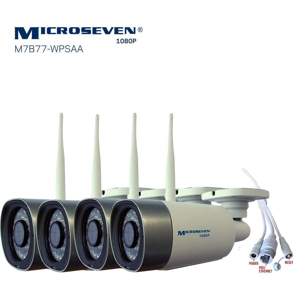 4x Microseven(2019)HD 1080P/30fps [WiFi+PoE]Two-Way Audio,Built-in Amplified Mic &Speaker, Alexa,Outdoor IP Camera,128GB Slot,Day&Night(IR lights On/Off),Web GUI&Apps,VMS,Free 24hr Cloud Storage,Onvif