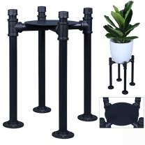 "OROPY Plant Stand Industrial Pipe Design, Matte Black Heavy Duty Iron Potted Plants Holder, Indoor and Outdoor Metal Flower Pot Display Rack for 8.5"" Pots, 15"" Height (Plants and Pot NOT Included)"