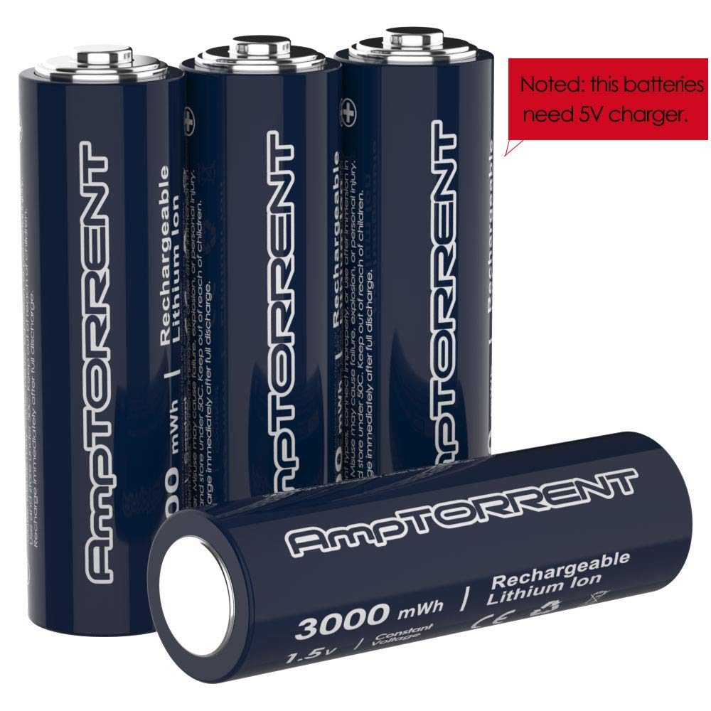 AmpTorrent Rechargeable Lithium/Li-ion Batteries AA Rechargeable Batteries 3000mWh High Capacity, 1.5V Constant Output, Fast Charging Batteries 4Pack