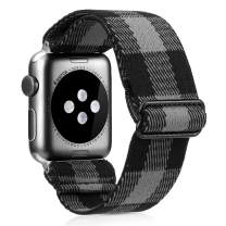 Elastic Watch Band Compatible With Apple Watch 38mm 40mm 42mm 44mm,Stretch Elastics Wristbelt Replacement Wristband For iWatch Series 5/4/3/2/1(Gray Buffalo Plaid,42MM/44MM)