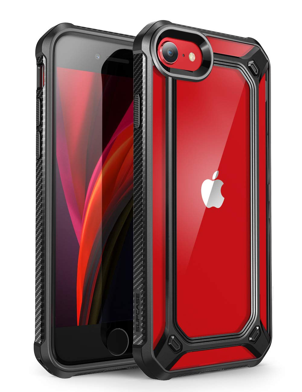 SupCase [Unicorn Beetle EXO Series] Case for iPhone SE 2nd Generation (2020), Premium Hybrid Protective Clear Bumper Case for iPhone SE /7/8(Black)
