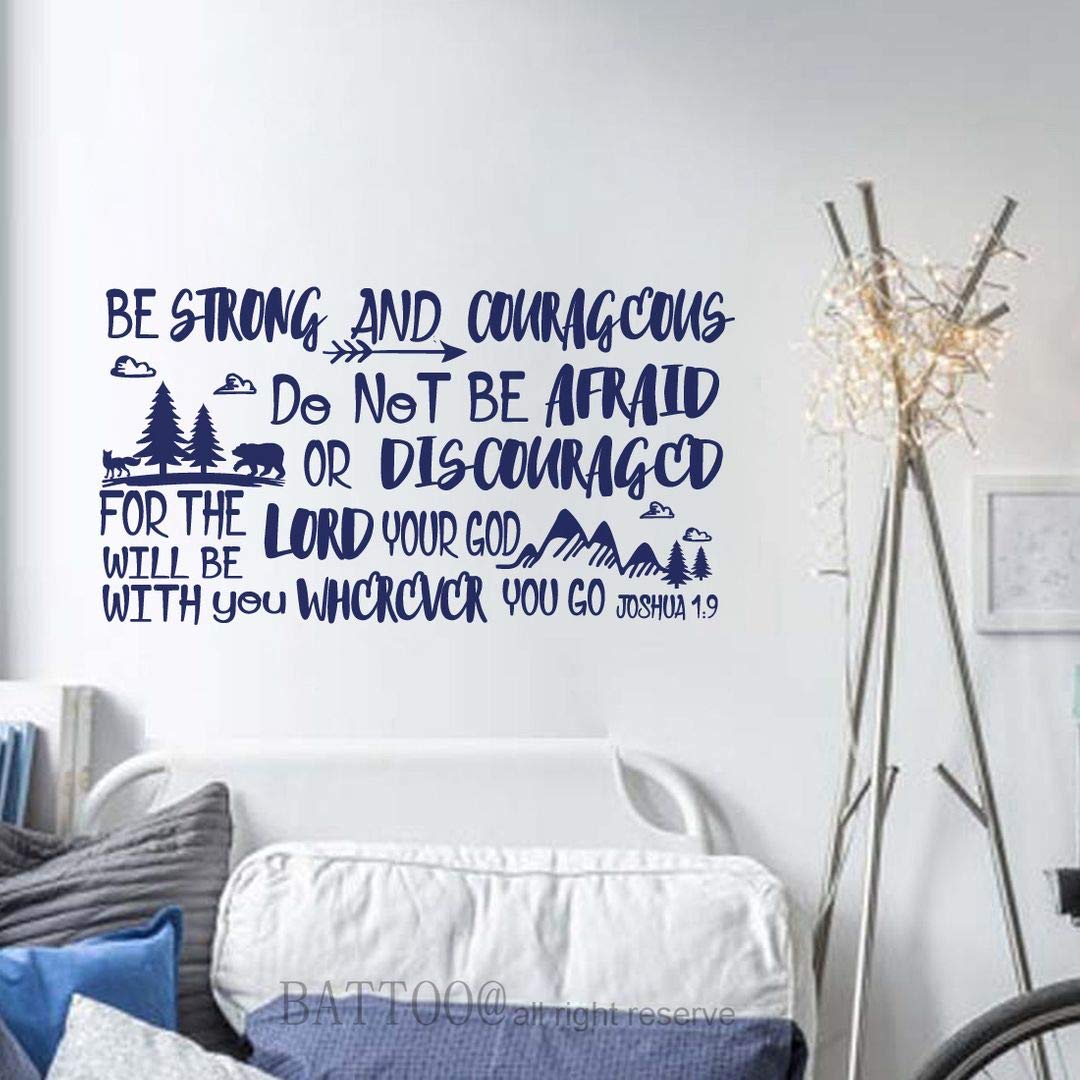 """BATTOO Be Brave Strong and Courageous- Joshua 1:9 Bible Scripture Wall Decal Quotes for Boys Room Boys Nursery Baby Room Vinyl Letters Inspirational Wall Decor(Davy Blue, 42"""" WX22 H)"""