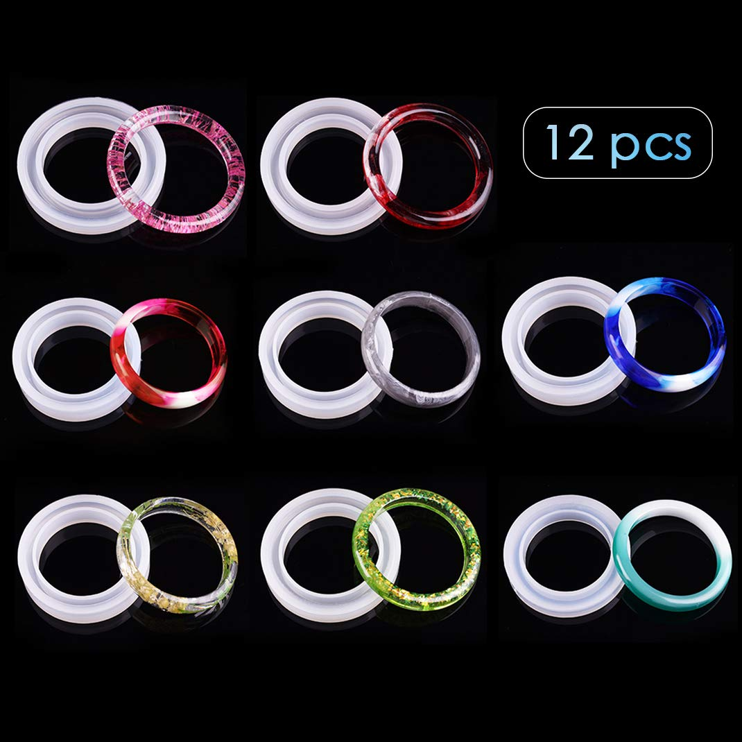 iSuperb 12 Pcs Epoxy Resin Molds Silicone Bangle Mold Round Resin Casting Molds for Jewelry Making Bracelet DIY Crafts (Transparent)