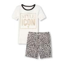 The Children's Place Big Girls' Novelty Printed Shorts Pajama Set