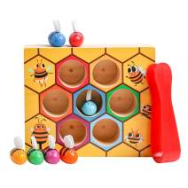 HOONEW Toddler Fine Motor Skill Toy,Wooden Clamp Bee to Hive Toys Matching Game ,Montessori Color Sorting Puzzle Early Preschool Learning Educational Gift Toy for 2 3 4 Years Old Baby Kids Boys Girls