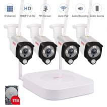 [8CH Expandable System] 1080P Security Camera System Wireless,Tonton Surveillance NVR Kit with 1TB HDD and 4PCS 2.0MP 1080P Outdoor Indoor Bullet IP Cameras,PIR Sensor,Audio Recording,Plug and Play
