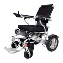 SELF FDA Registered D09 Foldable Motorized Wheelchair Electric Power Wheelchair - Lightweight and Durable - Weighs only 58 lbs with Battery - Supports 400 lb (Silver)