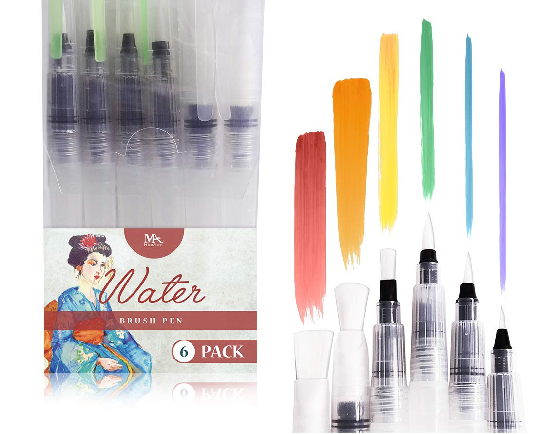 Water Brush Pens - Set of 6 Brush Tips - Great for Watercolor Paints, Water Soluble Pencils, Brush Pen, Markers - Refillable Brush Pens - Aqua Pen, Art Brushes - MozArt Supplies