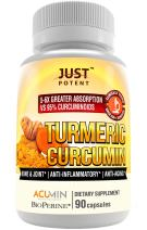 Just Potent Turmeric Curcumin Supplement | Ultra-High Absorption | Patented, Clinically Researched and Tested | 5-6 Times Greater Absorption Than Competition