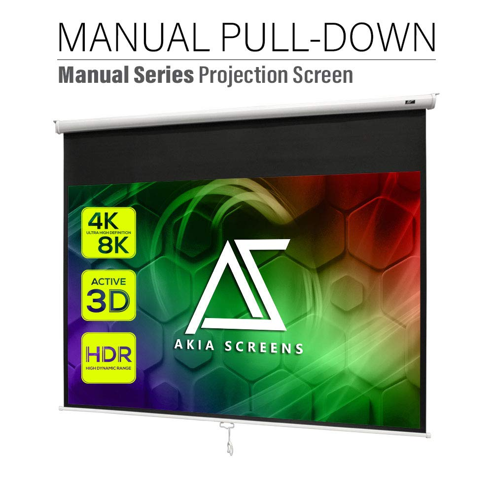 Akia Screens 100 inch Pull Down Projector Screen Manual B 16:10 8K 4K HD 3D Ceiling Wall Mount White Portable Projection Screen Retractable Auto Locking for Indoor Movie Home Theater Office AK-M100X1