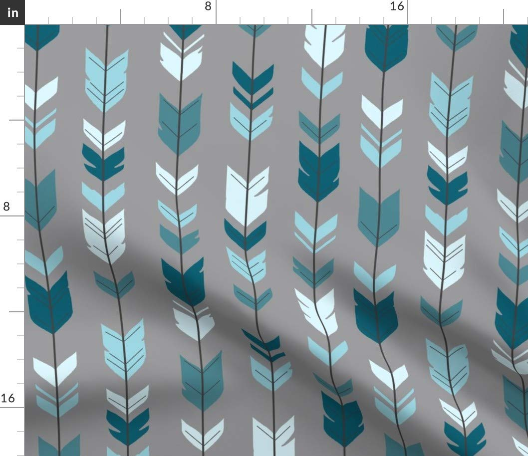 Spoonflower Fabric - Arrows, Feathers, Teal Blue Grey, Baby Boy, Woodland, Nursery, Rustic, Printed on Fleece Fabric by The Yard - Sewing Blankets Loungewear and No-Sew Projects