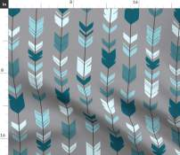 Spoonflower Fabric - Arrows, Feathers, Teal Blue Grey, Baby Boy, Woodland, Nursery, Rustic, Printed on Organic Cotton Knit Fabric by The Yard - Baby Blankets Clothing Apparel T-Shirts