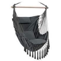 FERSTALO Hammock Chair, Hanging Rope Swing with 3 Cushions Pillow, Max 300 lbs - Large Hammock Hanging Chair for Indoor Bedroom Outdoor Porch Lounging (Grey)