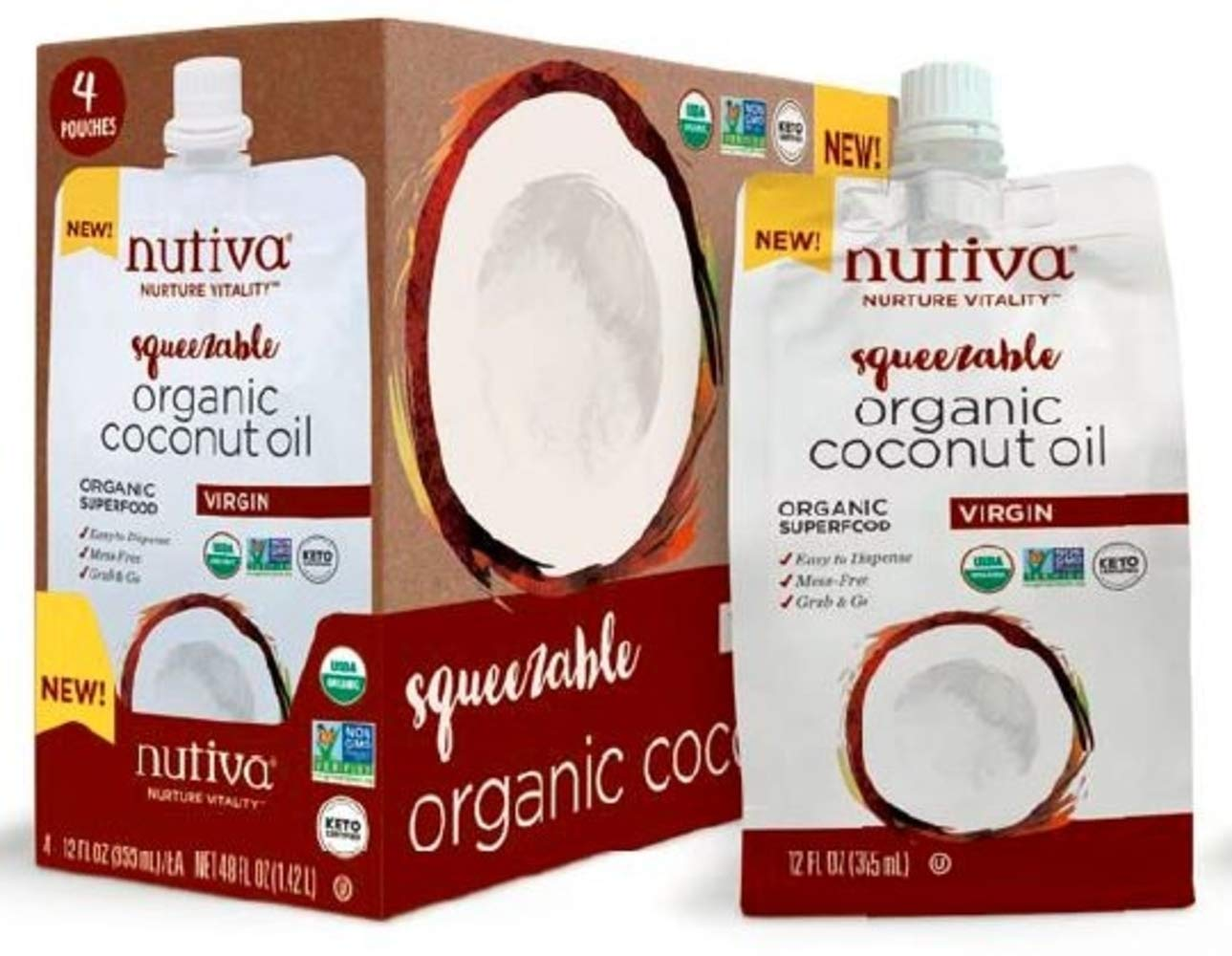Nutiva Organic, Unrefined, Virgin Coconut Oil, Squeezable 12-ounce Pouch (Pack of 4)