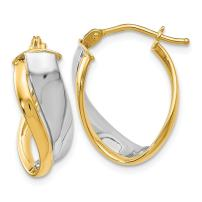 14k Two Tone Yellow Gold Hinged Hoop Earrings Ear Hoops Set Fine Mothers Day Jewelry For Women Gifts For Her
