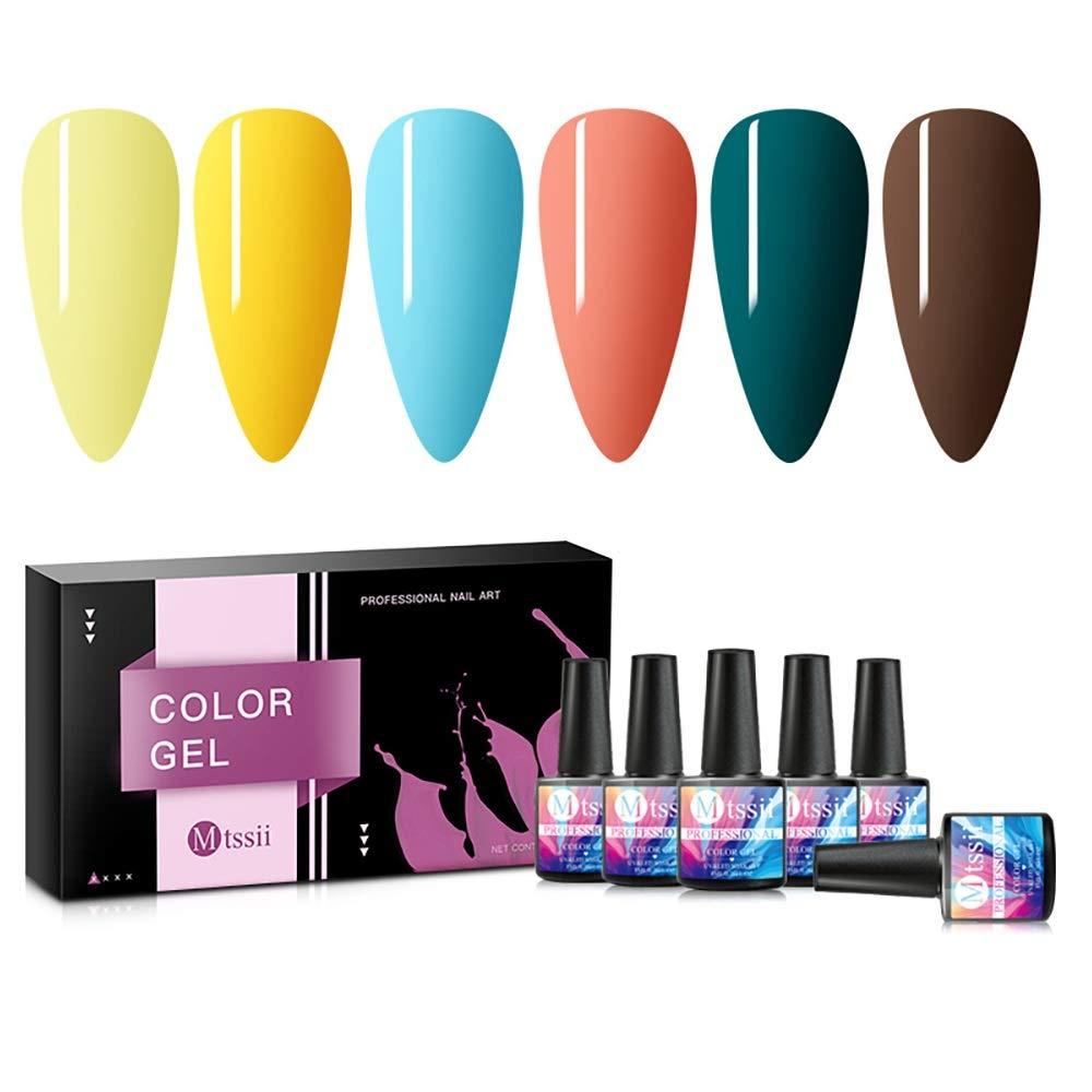 MTSSII Gel Nail Polish Sets Yellow Blue Green Series 6 Colors Nail Art Gift Box UV LED Soak Off Nail Gel Kit 0.27 OZ 8ml