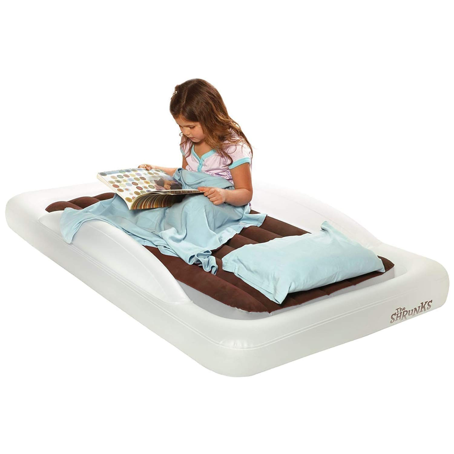 The Shrunks Toddler Travel Bed Portable Inflatable Air Mattress Blow Up Bed for Travel, Camping, or Home Use, Kids Size with Security Bed Rails and Quiet Comfort Top 60 x 37 x 9 inches