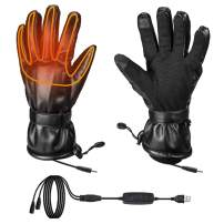 Heated Gloves for Men for Cold Winter, Fingers & Hands Warmer for Ski Motorcycle Hiking Hunting, Windproof Electric Battery Heated Gloves Powered by Power Bank(Not Include Battery)