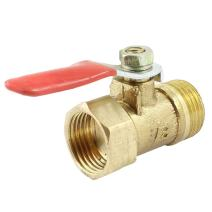 uxcell Ball Valve Shut-off Valve, 3/8PT Male to 3/8PT Female Thread, Pipe Tubing Fittings, 26mm Operation Handle, Metal Valve, Pack of 1