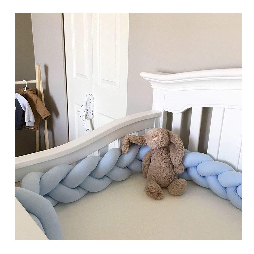 """Infant Soft Pad Braided Crib Bumper Knot Pillow Cushion Cradle Decor for Baby Girl and Boy (Blue, 157"""")"""