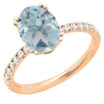 Dazzlingrock Collection 14K 8X6 MM Oval Gemstone & Round Diamond Bridal Engagement Ring, Rose Gold