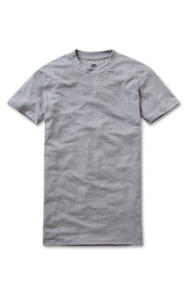 RibbedTee Men's Retro Fit Tri-Blend Crew Neck Short Sleeve Undershirt, Grey