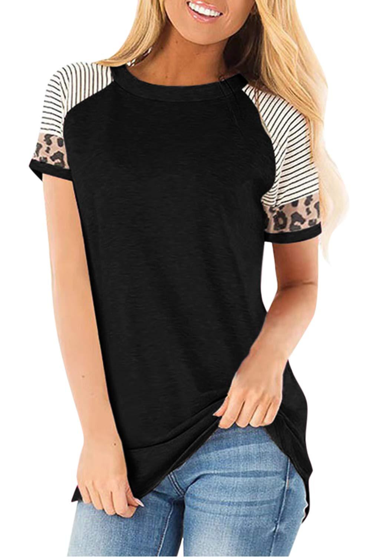 Yonala Womens Striped Raglan Short Sleeve Leopard Print Sleeve T-Shirt Tee Shirt