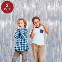 Kkonetoy 2PCS OF Shiny Silver Large Foil Fringe Curtain Metallic Photo Booth Tinsel Backdrop Door Curtains - Perfect For Valentine's Day,2019 Graduation Party Favors Supplies Decorations,Birthday,Fun for Birthday, Bachelorette Parties, Weddings