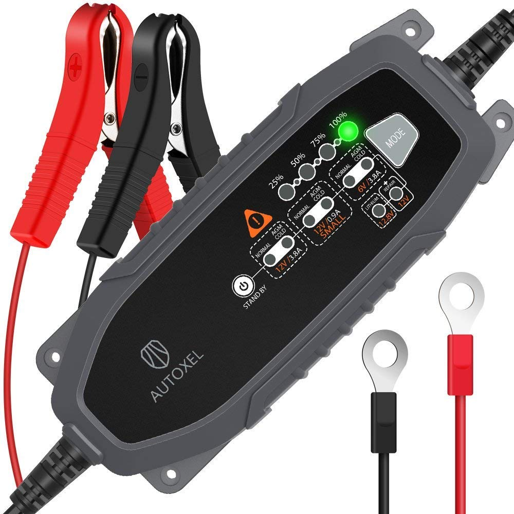 AUTOXEL Battery Charger for Car, 6V/12V 3.8Amp Automotive Trickle Battery Charger and Maintainer 110V Battery Repair with 8 Charging Modes for Car, Motorcycle, Lawn Mower, Boat, RV, SUV, ATV, and More