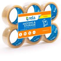"""rela Moving & Storage Clear Premium Tape - (109.3 Yards x 1.88 Inch) Heavy Duty Premium Sealing Adhesive for Moving and Storage (6 Pack) (Clear, 2"""" x 50M (6 Pack)) (Clear, 2"""" x 50M (6 Pack))"""