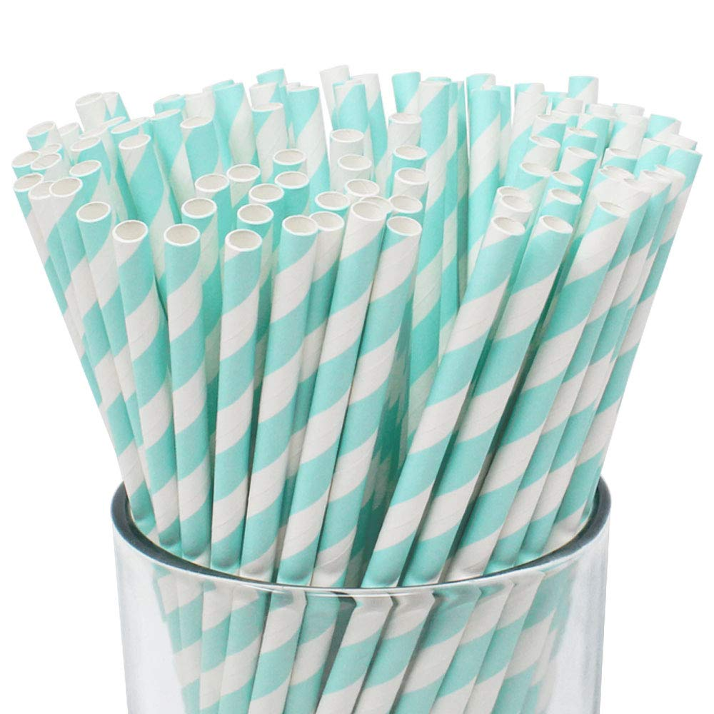 Just Artifacts 100pcs Premium Biodegradable Striped Paper Straws (Striped, Baby Blue)