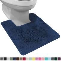 Gorilla Grip Original Shaggy Chenille Square U-Shape Contoured Mat for Base of Toilet, 22.5x19.5 Size, Machine Wash and Dry, Soft Plush Absorbent Contour Carpet Mats for Bathroom Toilets, Navy Blue
