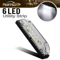 "Partsam 4"" Ultra-Thin-Line LED Utility Light Bar 6Diode Sealed Clear Lens White 12V"