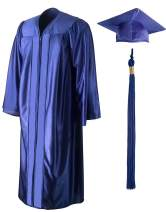 GraduationSource, Unisex Shiny Graduation Gown, Cap and Tassel Set Incl 2020 Signets, Multiple Colors and Sizes