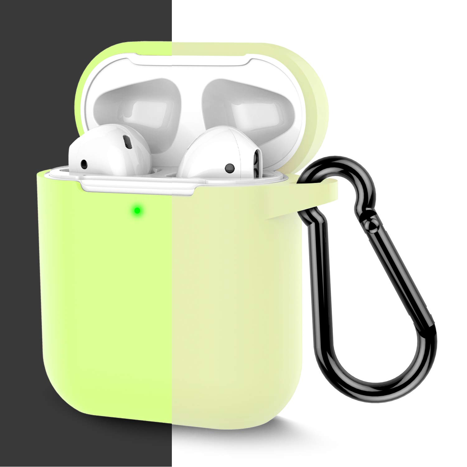 Coffea AirPods Case, Protective Silicone Cover Skin with Keychain for AirPods 2 Wireless Charging Case [Front LED Visible] (Fluorescence)