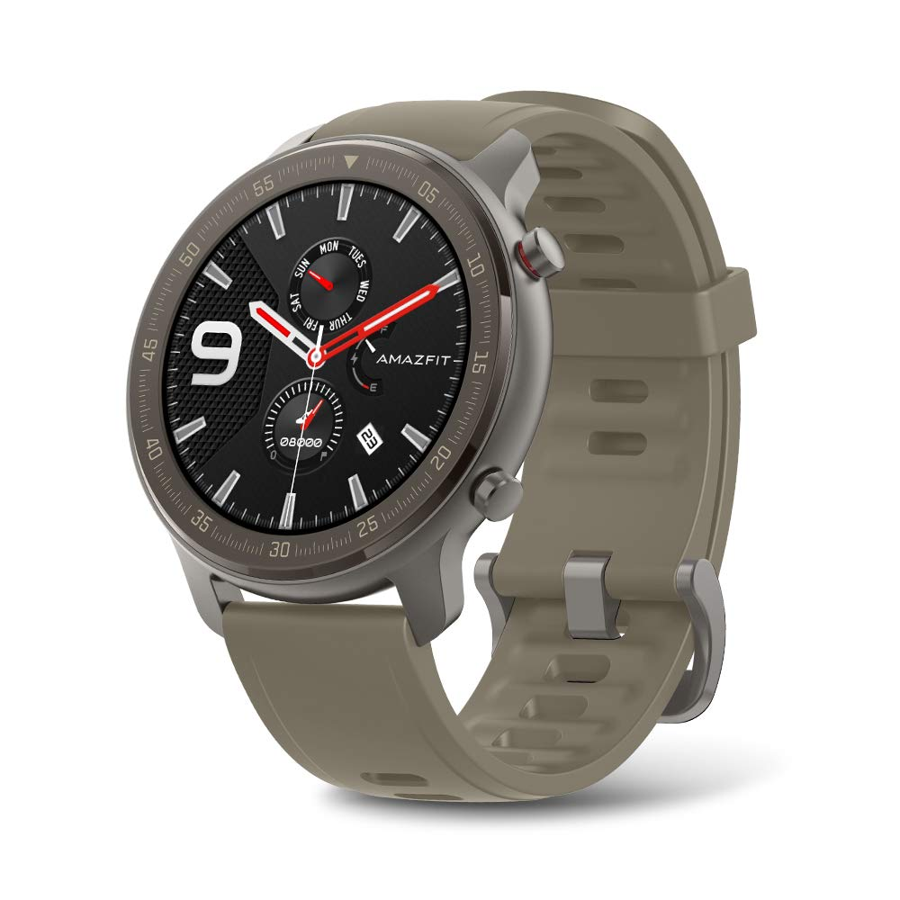 """Amazfit GTR Smartwatch, Smart Notifications, 1.39"""" AMOLED Display, 24/7 Heart Rate Monitor, 24-Day Battery Life, 12-Sport Modes (47mm, GPS, Bluetooth), Titanium"""