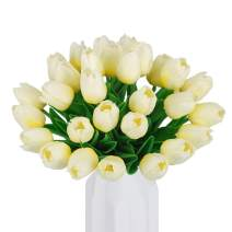 HANTAJANSS 30 Pcs Artificial Tulip Fake Holland Mini Tulip Latex-Look Like Real Touch Flowers Eco-Friendly for Wedding Decor DIY Home Party Decoration Gift Pack