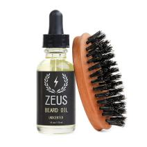 Zeus Beard Oil Natural Conditioner Softener Kit With 100% Boar Bristle Brush, Unscented