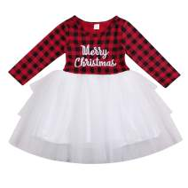 Kids Toddler Baby Girl Christmas Dress Red Plaid Tulle Lace Tutu Princess Dresses with Headband Outfit Clothes