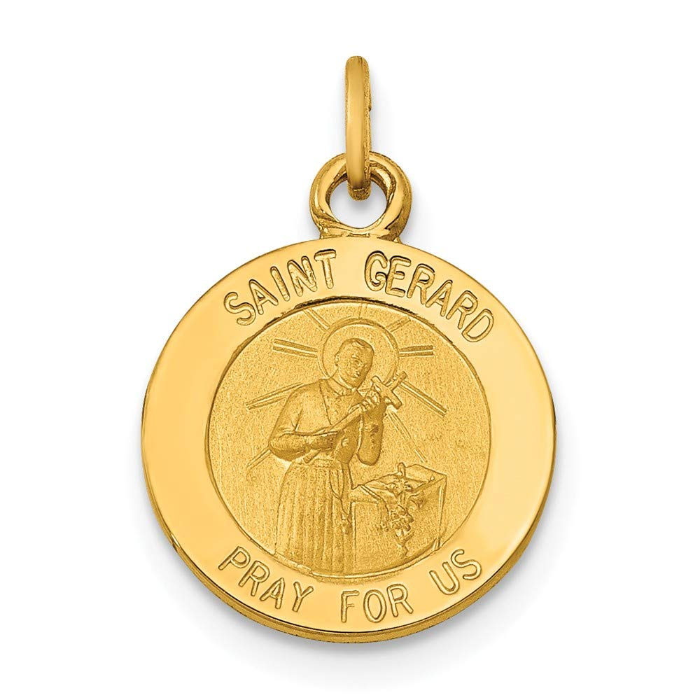 14k Yellow Gold Saint Gerard Medal Pendant Charm Necklace Religious Patron St Fine Jewelry For Women Gifts For Her