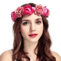 Drecode Rose Flower Crown Wedding Bridal Flower Wreath Headband Pink Hair Garland Bride Wedding Headpiece for Women and Girls