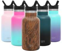 Simple Modern 12 Ounce Ascent Water Bottle with Straw Lid - Stainless Steel Hydro Thermos Tumbler - Double Wall Vacuum Insulated Small Reusable Metal Leakproof Pattern: Wood Grain