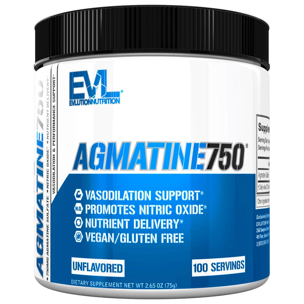 Evlution Nutrition Agmatine750, 750mg of Agmatine Sulfate in Each Serving, Vegan, Gluten Free, Unflavored Powder (100 Servings)